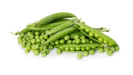 tasty green peas on the white background