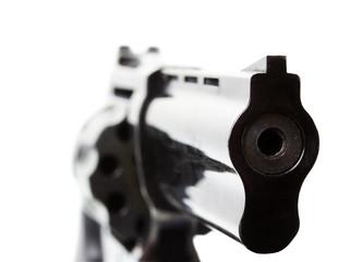 black revolver on the white background