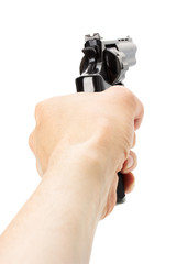 Revolver Gun in hand on the white background