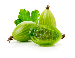 ripe gooseberry on the white background
