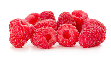 juicy raspberries on the white background