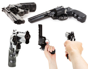 set of Revolver Gun on the white background