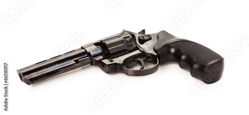 Leinwanddruck Bild black revolver on the white background