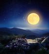 Leinwandbild Motiv Full moon in the mountains