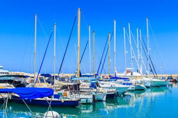 Boats in a port in Kyrenia, Cyprus