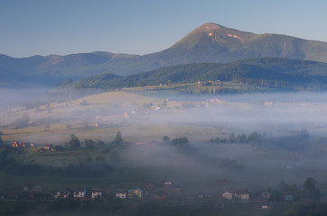 Morning landscape with mountain village