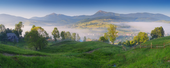 Panorama Mountain Village in the Carpathians