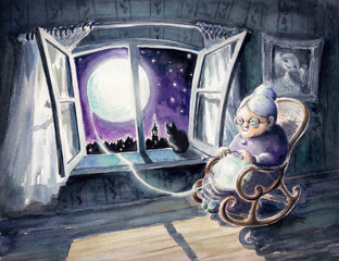 Grandmother knitting a sweater with a lunar light.Watercolors.