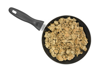 Ground turkey cooked in small skillet