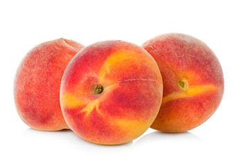 Ripe peaches fruit isolated on white background