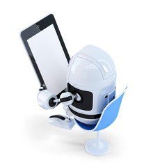 Robot sitting with a Tablet Computer. Isolated. Clipping path