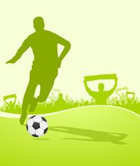 Fußballer mit Fans