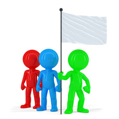 Team of coloured people holding flag. Isolated. Clipping path