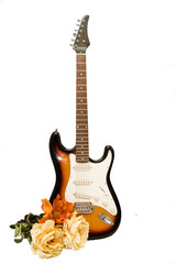 Isolated guitar with flowers