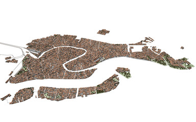 Venezia Laguna 3d Mappa Cartina (Serenissima) UHQ