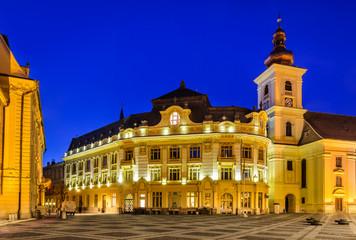 Sibiu, City Hall and Large Square in night, Romania