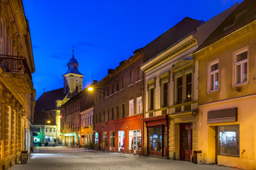 Medieval Brasov in night, Transylvania, Romania