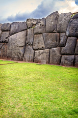 Walls of Sacsayhuaman Fortress, in Cusco, Peru