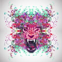 яркий абстрактный  музыкальный фон с волком
