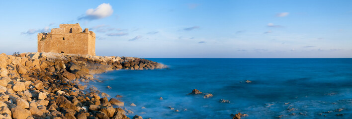 Paphos castle. Cyprus. Panoramic photo