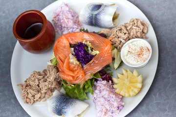 Fishes and salad on a plate