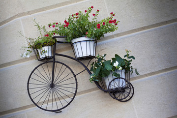 Flowerpots on an old bike