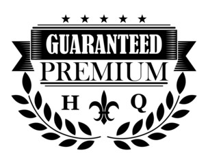 Guaranteed premium banner in retro style