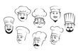 Set of smiling chefs heads