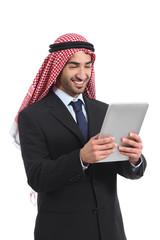 Arab saudi businessman reading a tablet reader