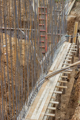 Reinforcing for concrete wall standing in a cement