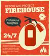 Firefighting retro poster - 66587316