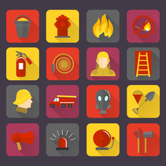 Firefighting icons set