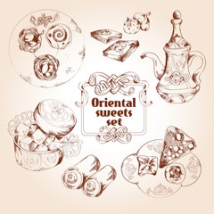 Oriental sweets sketch set