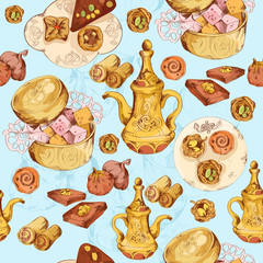 Oriental sweets seamless background