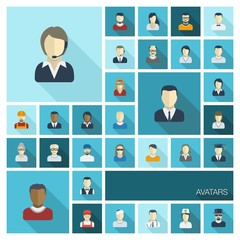 Vector flat colored icons set with long shadows. People avatars