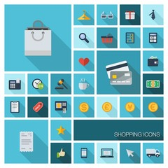 Vector flat colored retail commerce and marketing icons set