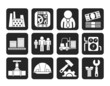 Silhouette Business, factory and mill icons
