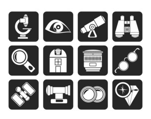 Silhouette Optic and lens equipment icons