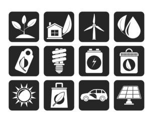 Silhouette Green and Environment Icons