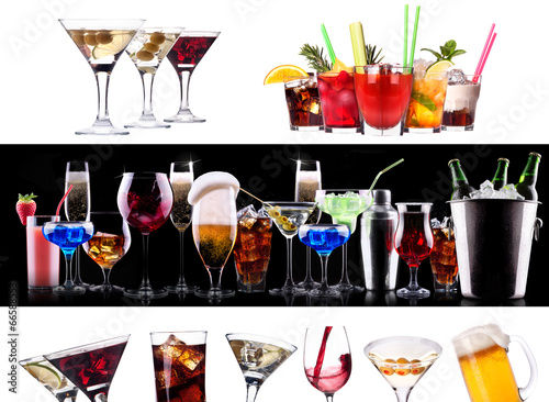 Set of different alcoholic drinks and cocktails - 66588553