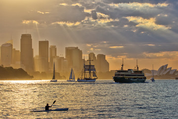 Kayak sunset on Sydney Harbour