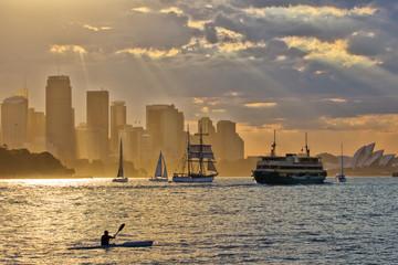Kayak sunset on Sydney Harbour