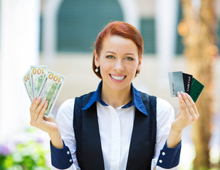 Bank agent showing convinience of electronic money