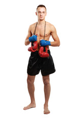 Young boxer man isolated on white background
