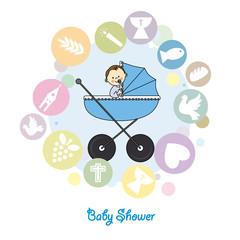 Baby boy baptism invitation card