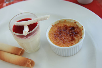 French desserts: Creme brûlée and  blancmange