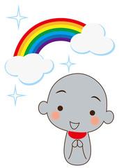 輝く虹とお地蔵さん