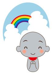虹とお地蔵さん