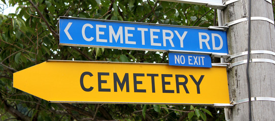Funny road sign hinting at mortality