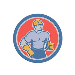 Metallic Construction Worker Thumbs Up Circle Retro